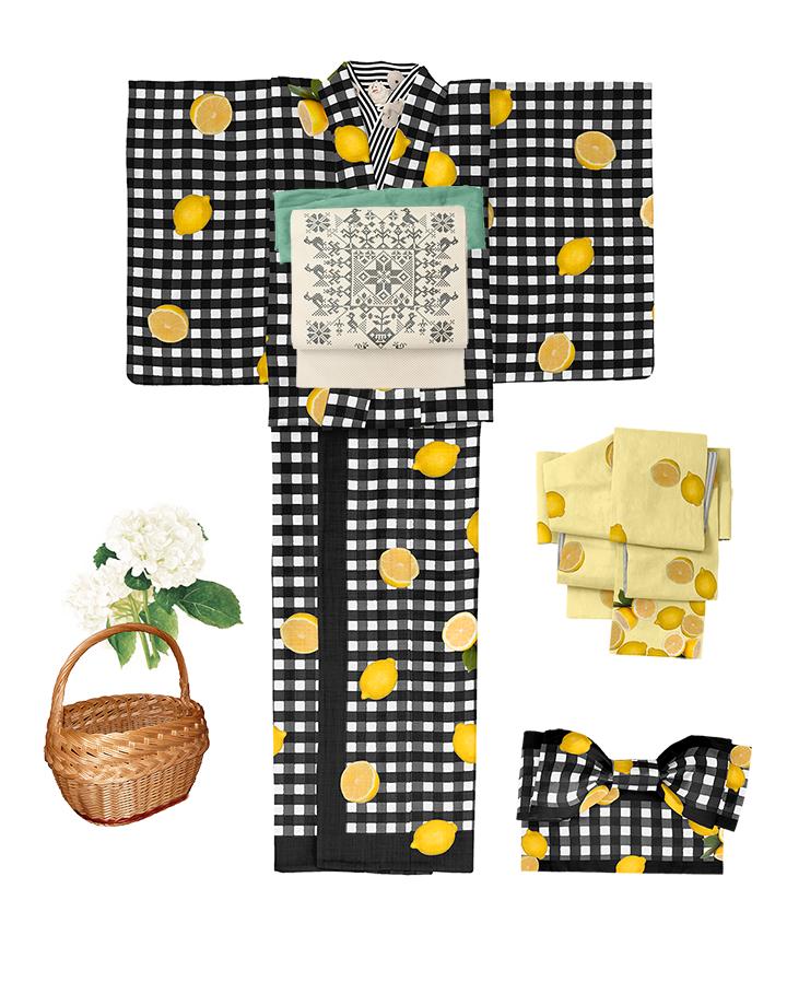 DSC08141+レモン帯チェック+スピッツ半襟黒白+留袖print用+レイヤー-1のコピー+DSC08193+レモンパイ帯+半幅裏ストライプグレーmn